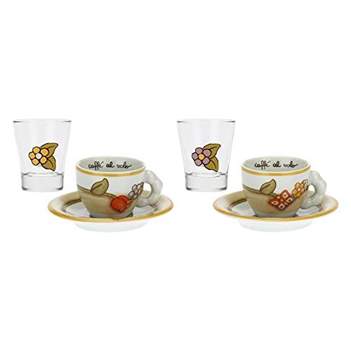 THUN-Set 2 tazzine caffè e 2 Bicchierini in Vetro Country