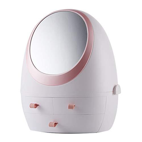 Timagebreze Kosmetiktasche für Schminktisch Makeup Organizer Aufbewahrungsbox Sch?Nheit Hautpflegeprodukte Kunststoffbeh?Lter Wei? Einzelspiegel