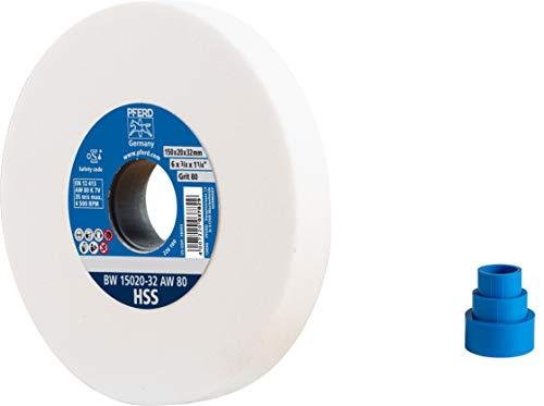 PFERD Schleifbockscheibe, 150x20x32mm, Ausführung HSS, Korngröße 80, Edelkorund weiß, 39009699 – Schleifscheibe für das Bearbeiten hochlegierter Stähle mit integrierten Reduzierhülsen (25/20/16mm)