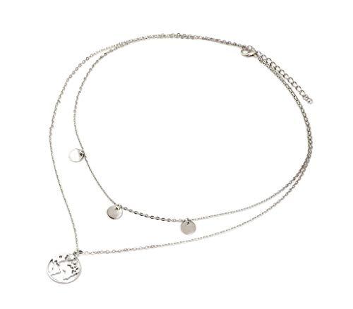 nail Tip Halskette Weltkarte mit Silberplättchen | 40 + 5 cm | Edelstahl Modeschmuck Damen-Kette mit Anhänger | Silber