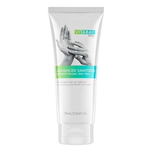 gel desinfectante vitabay con aloe vera para el cuerpo y las manos - para una limpieza higiénica y rápida de las manos sin agua - listo para usar ideal para llevar. (75 ml)