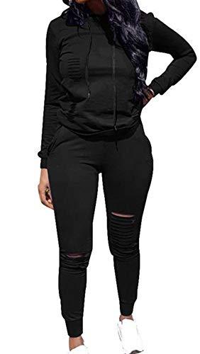 Women's Sweatsuits, Women's 2 Pcs Tracksuit - Round Neck Long Sleeve Top Stripe Long Pants Jumpsuit Outfits Set - Sport (A# Black, XL)