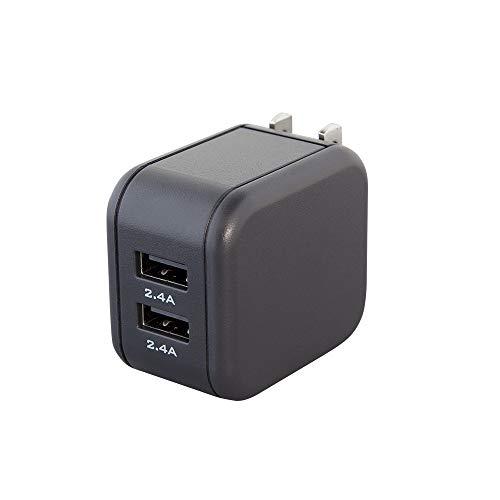 MOTTERU (モッテル) AC充電器 USB 2ポート 急速充電 合計4.8A(2.4A+2.4A)出力 2台同時充電 軽量 コンパクト PSE認証済 日本メーカー 2年保証 スモーキーブラック MOT-AC48U2-BK