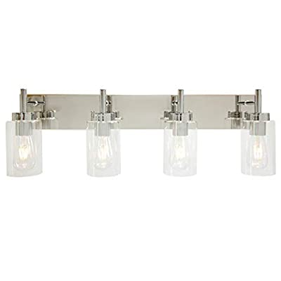VINLUZ Modern Bathroom Lighting with Clear Glass Shade 4-Light Vanity Light Fixtures Chrome Finished Industrial Wall Light Sconces for Bedroom Hallway Living Room
