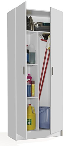 Vita 2 Door Kitchen Utility Room Cabinet in 180cm x 73cm x 37cm (White)