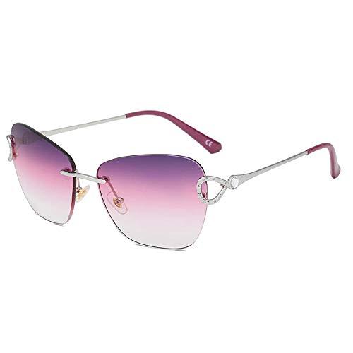 Gafas de sol grandes de corte cuadrado sin bordes, película de tres colores en marco plateado