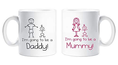 I'm que va Para Una Momia Daddy Taza Juego Copa Nueva Padres Regalo Nuevo Mummy NUEVO Daddy Baby Shower EMBARAZO REGALO
