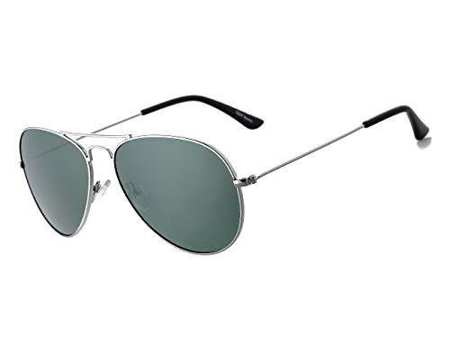 Rocf Rossini Gafas de Sol Aviador para Mujer Gafas Polarizadas Retro de Hombre con Protección UV400 para Pescar Conducir Playa(silver/green)