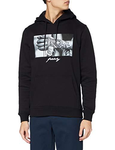 Mister Tee Pray 2.0 Hoodie Hooded Sweatshirt Kapuzenpullover mit Aufdruck für Damen und Herren, Farbe Schwarz, Größe M