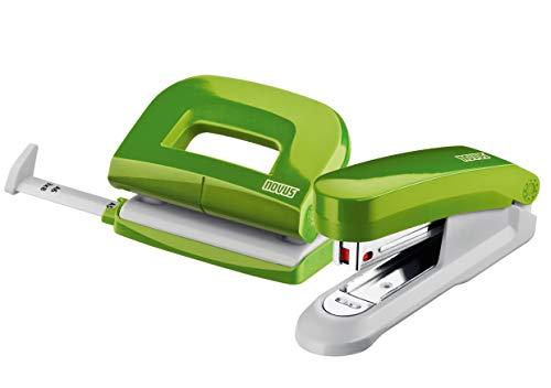 Novus Schreibtisch Set (Heftgerät E 15 mit Locher E 210, inkl. 1000 Heftklammern No. 10) grün