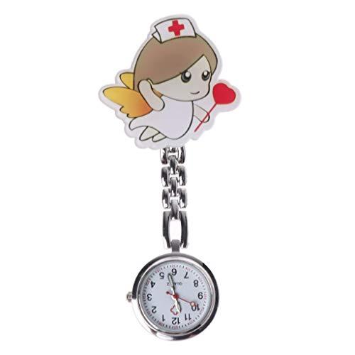 VieskyNewly - Orologio da taschino per infermiere, motivo angelo, con clip,...