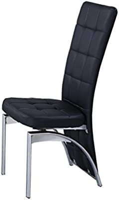 Luxury 7Star High Back Faux Leather Dining Chairs with Chrome Frame Available in Black Brown Red White (Black)