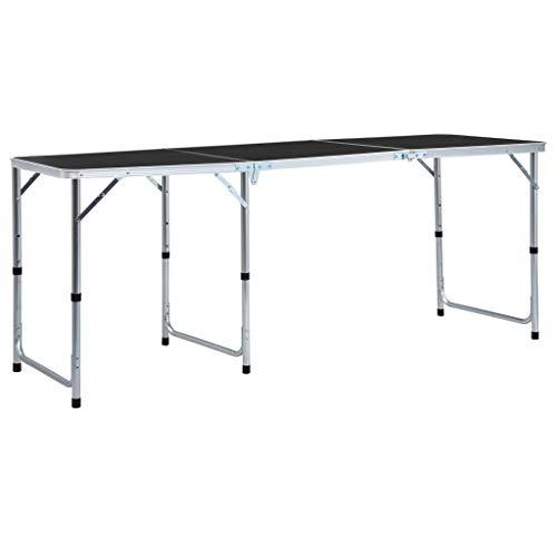 vidaXL Tavolo da campeggio pieghevole Grigio Alluminio 180 x 60 cm