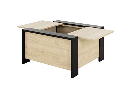 Diagone Aurora Table Basse Bar, carré, Plateau Coulissant, Rangement séjour, H 44 X P 78