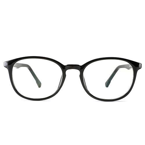 Cyxus Filtro de luz Azul Moda Retro Redondo Marco [Mejor Dormir] Unisexo Adulto Gafas de computadora, Bloqueo UV Anti Fatiga de Ojos (13-Marco Negro 8561)