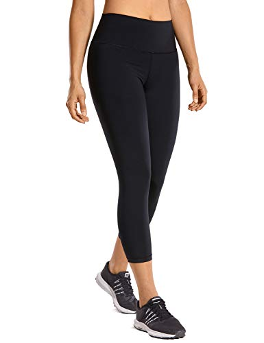 CRZ YOGA High Waisted Capri Workout Leggings for Women Hugged Feeling Athletic Compression Leggings -21 Inches Black 21'' XL