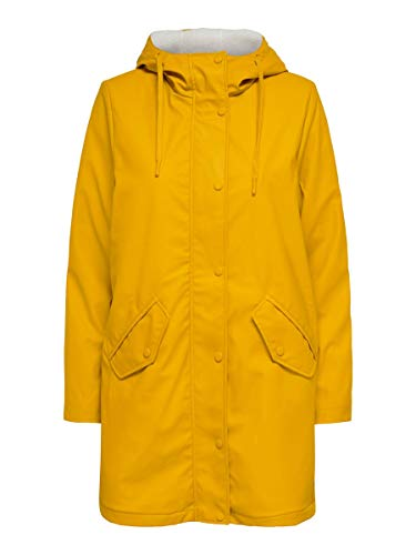 ONLY Damen ONLSALLY Raincoat CC OTW Mantel, Golden Yellow-White Teddy, M
