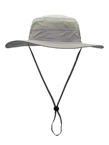 WANYING Damen Herren Outdoor Bucket Hut Fischer Hut Buschhut Atmungsaktiv Schnelltrocknend Sonnenschutz - für Kopfumfang 60-63 cm Hellgrau