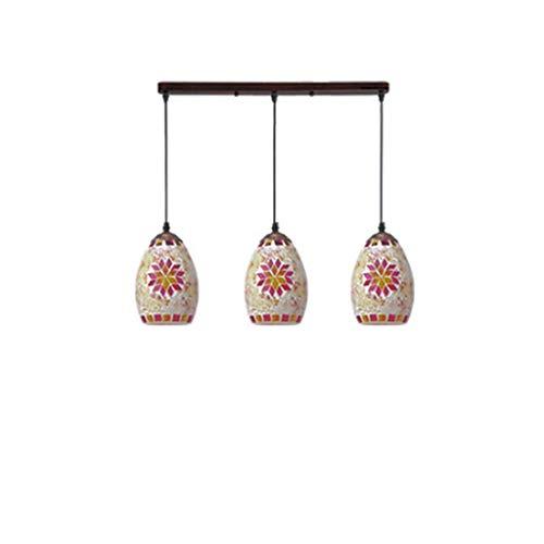 Lampes de verre de mosaïque rétro restaurant bar lustre de plafond en verre teinté 3 lustre (taille : Longue)