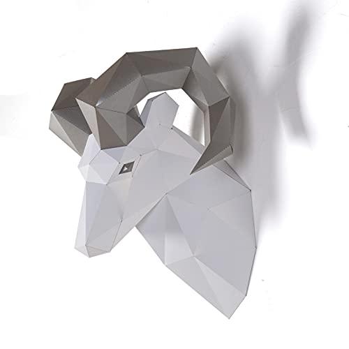 Escultura de papel con cabeza de carnero,Kit de papel precortado,Figuras anchas de animales hechas a mano,Multi Color,Decoración de pared en bajo poliéster,Todos los accesorios incluidos