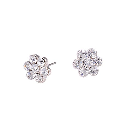 Topwholesalejewel Bridal Earrings Womens Silver Crystal Small Flower Stud Earring