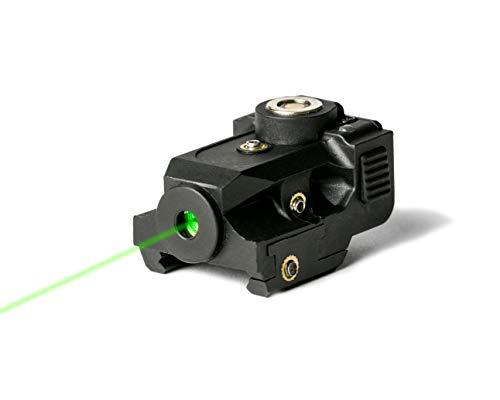 BattleBeam V1 Laser Sight | Rifle or Handgun | Weaver or Picatinny Rail | Red or Green Dot Lazer Sight Pistol | Tactical Sights Airsoft | Scope Hand Gun Rifles | Pistol | Air Soft Optic (Green Laser)