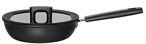 Fiskars Hard Face Pfanne für Sauteuse mit Deckel, Stahl, Schwarz, 24 cm