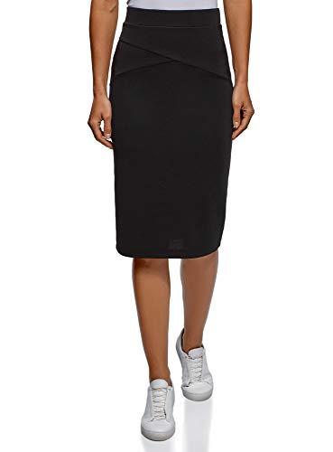 oodji Ultra Mujer Falda Lapiz de Tejido Texturizado, Negro, ES 36 / XS