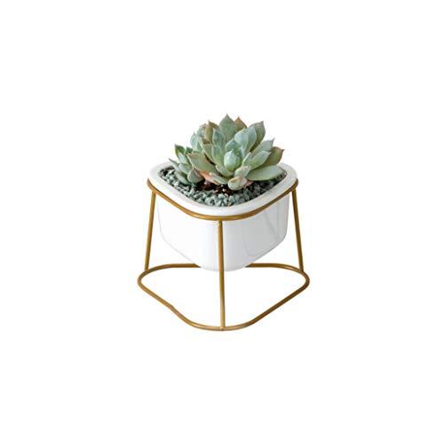 Pflanzenregale Abgerundete Dreiecksblume, Eisenrahmen, Keramiktopf-Set (Farbe : Gold)