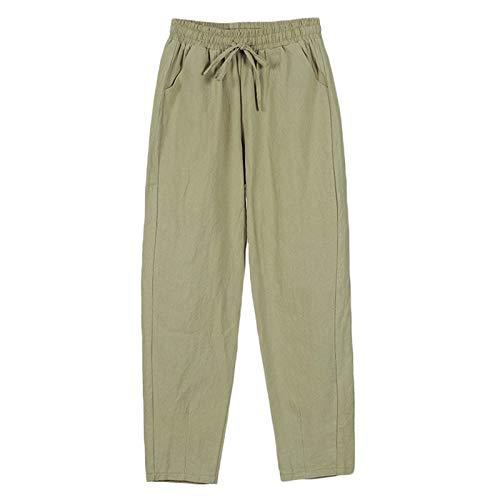 Andongnywell Womens Casual Cotton Linen Straight Leg Pants Loose Drawstring Elastic Waist Harem Pant with Pockets (Green,Medium)
