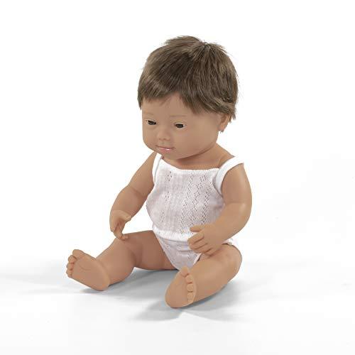 Miniland 31170 – Muñeco bebé Caucásico Niño Down de Vinilo Suave de 38cm con rasgos étnicos y sexuado para el Aprendizaje de la Diversidad con Suave y Agradable Perfume. Presentado en Caja de Regalo