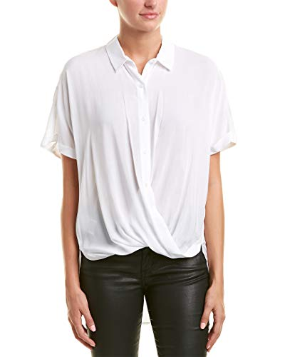 BCBGeneration Damen WRAP Hem Dolman Sleeve Shirt Button Down Hemd, Optic White, XX-Small