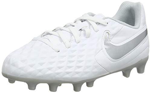 Nike Legend 8 Club Fg/MG, Scarpe da Calcio Unisex-Bambini, Bianco (White/Chrome/Pure Platinum/Wolf Grey 100), 27 EU