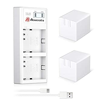 Powerextra 2 x Battery Rechargeable for Arlo Pro Arlo Pro 2 - Battery 2440mAh and Dual Quick LCD Charger for Arlo Pro 2 Arlo Go and Arlo Security Light Batteries VMC4030 VMC4030P VMA4400