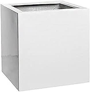 "White Large Square Planter Pot - Indoor Outdoor Planter Box Elegant Cube Shaped Flower Pot - 20""H x 20""W x 20""L - by Pottery Pots"