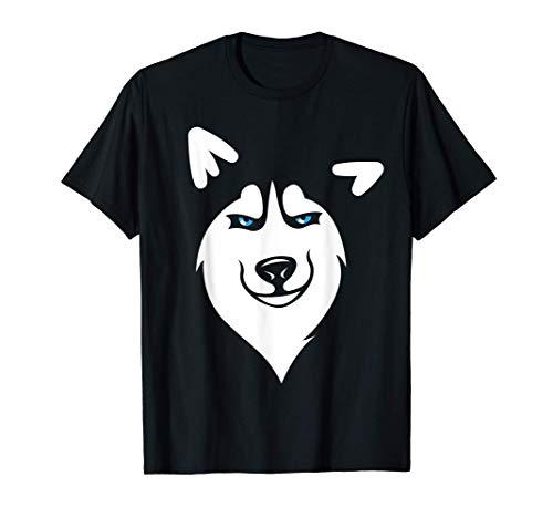 Perro Husky Cara de Animal Disfraz de Carnaval Halloween Camiseta