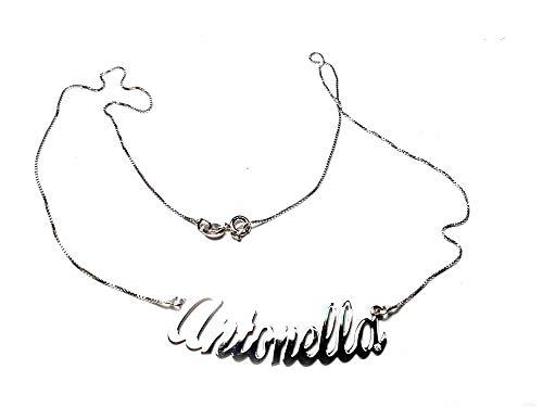 artigianale Halskette, 45 cm, personalisierbar mit Ihrem Namen, gebogen, 1 Brillantin auf einem Buchstaben, aus 925er-Silber, Farbe Silber oder Gold, jeder Name oder Schriftzug 1 Schlüsselanhänger