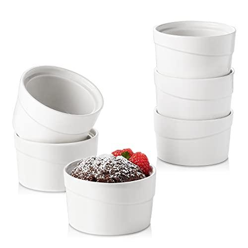 ZONESUM Ramekins 8 Oz Oven Safe, Creme Brulee Ramekins for Baking, Ceramic Souffle Ramekins, Dishwasher Safe, Ramekin Bowls for Pudding, Dessert, Custard Cups Set of 6, White