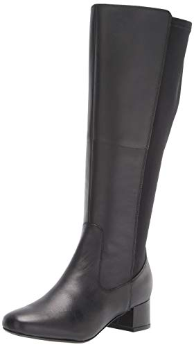 Clarks Women's Marilyn Abby Wide Calf Knee High Boot, Black Leather, 9