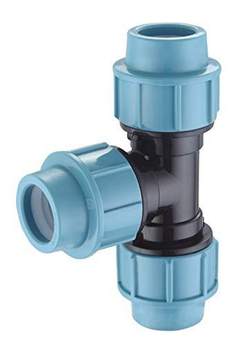 EXCOLO PP-Verbinder für 32 mm PE-Rohr Kupplung Endkappe Verbund Fitting Fittings Formteil Verschraubung Winkel (T-Stück 32mm)