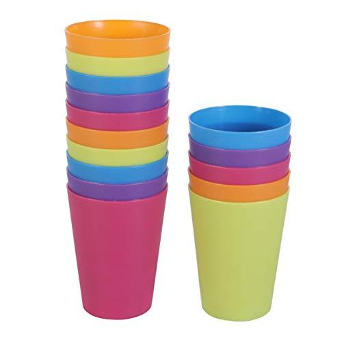 PRETYZOOM Bicchieri di plastica per bambini piccoli, con coperchio per bere per bambini piccoli, adatti per lavastoviglie, 15 pezzi bicchieri di plastica riutilizzabili colorati