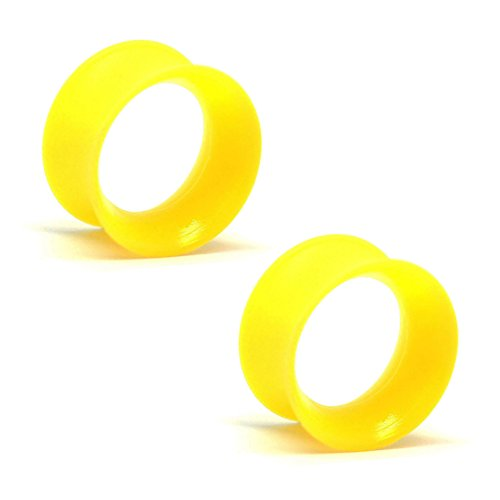 KAOS BRAND: Pair of Silicone Double Flared Skin Eyelets: 00g, wearable length: 5/16
