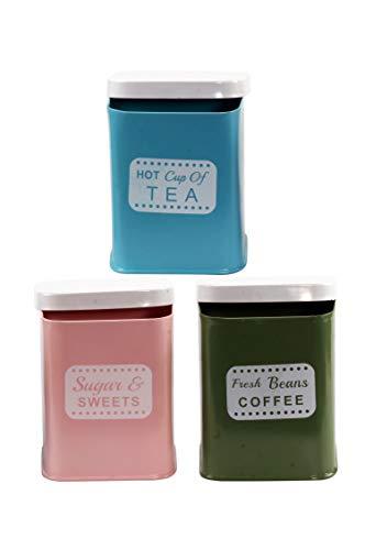 MAADES 3er Set Vintage Vorratsdosen Shetland aus Metall 13cm Gross | Retro Behälter Dose zur Aufbewahrung von Kaffee Tee Zucker in der Küche