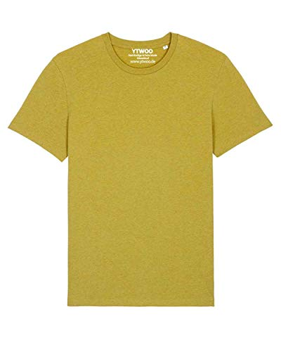 Herren Rundhals Tshirt aus 100% Bio-Baumwolle- in diversen Farben Schwarz und Weiß bis 2XL - Organic, Herren Bio Shirt, Herren Bio T-Shirt (XL, Heather Neppy Lemon)