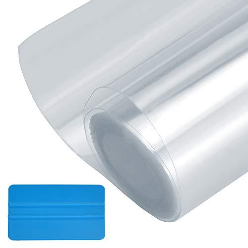 MONSIVILIA 30cm X 3m Lackschutzfolie Transparente Schutzfolie für Auto Selbstklebende Lackschutzfolie aus PVC Autoschutzfolie mit Blauer Spatel Ladekantenschutz Folie für Autotür, Autotürgriff