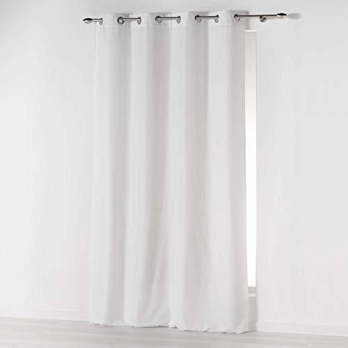 douceur dintérieur Absolu Rideau a Oeillets 140 x 260 cm Microfibre Unie ABSOLU Polyester, Blanc, 260x140 cm