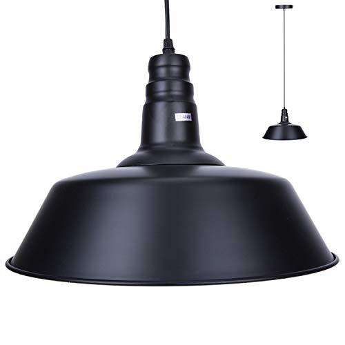 Asvert Vintage Pendelleuchte Retro Industrielle Deckenleuchte Loft Lampe Schwarz Eisen Lampenschirm E27 Lampenfassung ø 36 cm (Enthält keine Glühbirne)