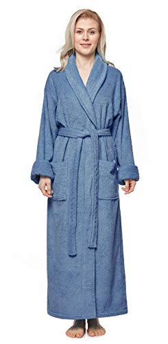 Arus Women's Long Style Full Length Thick Shawl Collar Turkish Bathrobe Blue Gray S/M