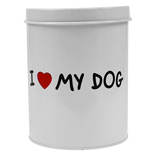 Out of the blue ronde metalen doos, I Love My Dog, wit, 14 x 19