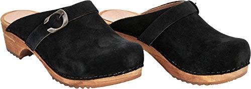 Sanita Hedi - Zuecos abiertos, ante | Original hechos a mano | Zuecos de piel y madera para mujer, color Negro, talla 36 EU